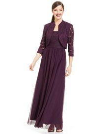 816264227ea R M Richards Plus Size Glitter Lace Empire-Waist Gown and Jacket Women -  Dresses - Macy s