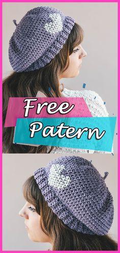 Parisienne Beret Crochet Free Pattern Hat  crochet  freepattern   crochetpattern  crocheting Boinas 81ff89b0300