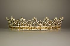 Queen Maryie José of Savoy's Diamond and Pearl Coronet, Italy (pearls, diamonds). The coronet once belonged to Empress Josephine Bonaparte of France and Empress Charlotte of Mexico. Diadem of Stéphanie de Beauharnais, Grand Duchess of Baden. Worn later by Queen Marie Jose of Italy.
