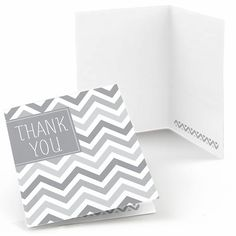 Thank guests for helping celebrate parties of all kinds with our Chevron Purple party thank you cards! Featuring a modern, purple and white chevron pattern, these packages of thank you cards are neutral enough to be used for baby showers, birthdays, re White Bridal Shower, Grey Baby Shower, Unique Bridal Shower, Boy Baby Shower Themes, Jewelry Table Display, Purple Color Schemes, Big Dot Of Happiness, Bridal Invitations, Purple Baby