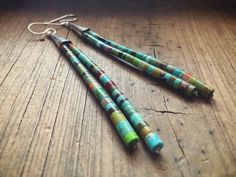 Multicolor Turquoise Dangle Earrings Santo Domingo Earrings, Native American Indian Jewelry #romaarellano