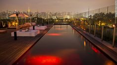 Rooftop pool at the Hotel Unique in Sao Paulo, Brazil
