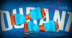 www.MacyDiddle.com  Mini Bows Set of 2 Blue Orange Basketball bows Okc by MacyDiddle, $5.00