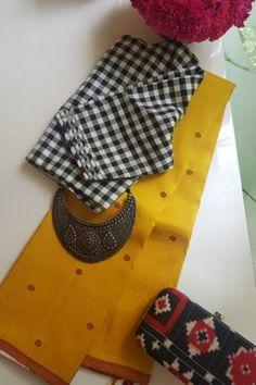 Cotton Saree Blouse Designs, Fancy Blouse Designs, Kurta Designs, Handloom Saree, Silk Sarees, Saris, Salwar Kameez, Checks Saree, Trendy Sarees