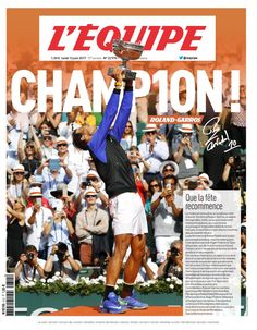 Rafael Nadal on the cover of L'Equipe (June 12, 2017)