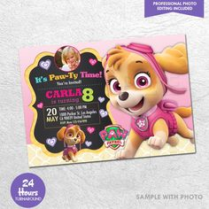 Paw Patrol Skye Invitation