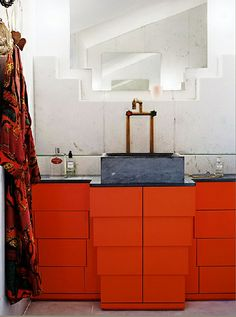 Cabinetry like a stack of Hermes boxes! Bathroom design - Christoph Theurer.
