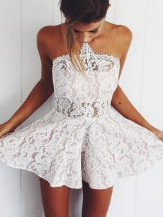 Cute Halter Neck Lace Skater Dress