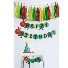 The Very Hungry Caterpillar birthday party decor. From The Banner Shoppe.