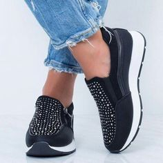 Item Lining Material:PU Upper Material:PU Shoes Style:zipper Heel Type:Platform Occasion:Daily,Casual,Athletic Toe Type:Round Toe Accents:Rhinestone Gender:Women Style:Casual The. Moda Sneakers, Wedge Heel Sneakers, Sneakers Mode, Sneaker Heels, Sneakers Fashion, Fashion Shoes, Fashion Edgy, Womens Fashion, Peep Toe Wedges