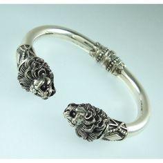 Lions Head Silver Torc Bracelet