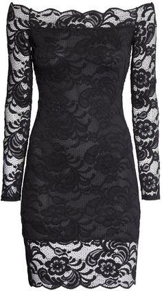 H&M - Off-the-shoulder Lace Dress - Black - Ladies Black Dress With Sleeves, Lace Dress Black, Dresses With Sleeves, Blue Evening Dresses, Date Night Dresses, Cheap Cocktail Dresses, Black Cocktail Dress, Sexy Dresses, Beautiful Dresses