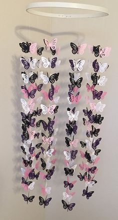 Pink Purple Black and White Butterfly Mobile by Backporchcrafts85
