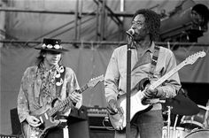 Stevie Ray Vaughan & Buddy Guy ...great black and white shot.