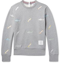 Embroidered with pastel sharks and bitten surfboards, this sweatshirt references <a href='http://www.mrporter.com/mens/Designers/Thom_Browne'>Thom Browne</a>'s Spring '17 show, which was set to the ominous <i>Jaws</i> theme tune. It has been made in Japan from soft loopback cotton-jersey and finished with a wet suit-inspired rubber-trimmed zip fastening through the back. Wear yours with dark shorts and simple snea...
