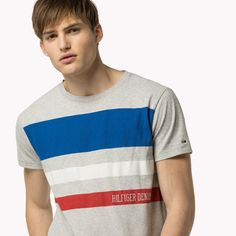 Elevate your look with the latest Tommy Hilfiger men's clothes. Tommy Hilfiger T Shirt, Hilfiger Denim, Tee Design, Print Design, Polo T Shirts, Grey Stripes, Summer Collection, Menswear, Mens Fashion