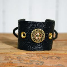Leather Cuff Bracelet Shotgun Shell by TaylorArts on Etsy, $45.00