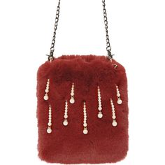 Red Fur Faux Pearl Chain Crossbody Bag ($9.28) ❤ liked on Polyvore featuring bags, handbags, shoulder bags, red cross body handbags, cross-body handbag, fur handbags, red crossbody purse and chain shoulder bag