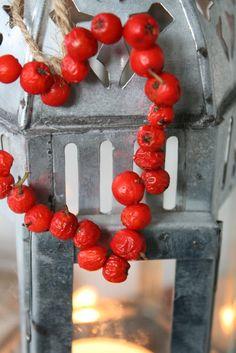 Høstpynt med tørkede rognebær og nyper