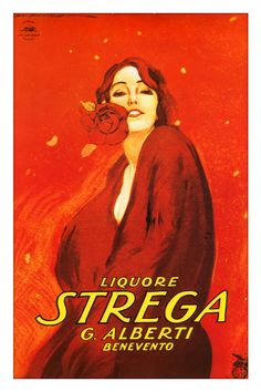 Marcello Dudovich - Liquore Strega advertising poster - Donna in rosso (Woman in red)