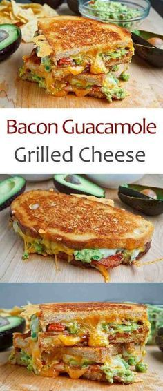 Guacamole Grilled Cheese Sandwich- this grown up grilled cheese combines all the things we all love: bacon, cheese and guac!Bacon Guacamole Grilled Cheese Sandwich- this grown up grilled cheese combines all the things we all love: bacon, cheese and guac! I Love Food, Good Food, Yummy Food, Lunch Recipes, Cooking Recipes, Avocado Recipes, Healthy Recipes, Grilled Recipes, Burger Recipes