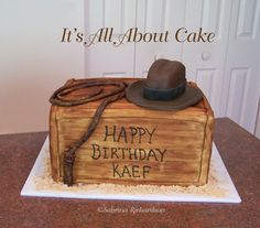 Indiana Jones cake with fondant hat.