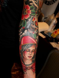 red ridinghood sleeve tattoo myke chambers in progress by Myke Chambers Tattoos,