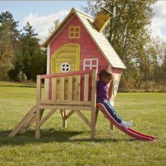 Outdoor Wooden Playhouse With Slide Kids Children Summer Backyard Pretend Play Wooden Playhouse With Slide, Outside Playhouse, Playhouse Kits, Childrens Playhouse, Backyard Playhouse, Build A Playhouse, Simple Playhouse, Playhouse Slide, Outdoor Playhouses