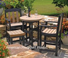"""Seashore Bar Table with Chairs & Stool. 20 colors available and you can two-tone like this Papaya/Brown combo~  36"""" table $706.00 and 48"""" table $864.00.  FREE Shipping on all 2+ unit orders~ Check out all our pins at American Recycled Plastic or visit us online at www.itsrecycled.com #benches #tables #outdoorfurniture #patiofurniture #buyrecycled #recycled plastic #family business"""