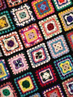 Vintage granny square blanket LOVE