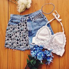 How cute is this outfit for summer!?  New crochet bralette, customized shorts, and blue rhinestone choker. Coming soon!  #artistscloth #ClothingForTheCreative #WereAllArtistsHere
