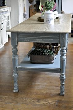 redesign, refinish, renew, one paint can at a time. Antique Kitchen Island, Narrow Kitchen Island, Kitchen Island Table, Farmhouse Kitchen Island, Kitchen Redo, Farmhouse Table, New Kitchen, Kitchen Remodel, Kitchen Ideas