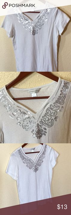 Christopher & Banks Top Blouse White Sz Sm Gorgeous Christopher & Banks White Top Blouse with Silver Spangles around the collet. Short Sleeves. Barely Worn. Christopher & Banks Tops Blouses