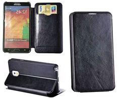 myLife Midnight Black {Sleek Design} Faux Leather (Card, Cash and ID Holder + Magnetic Closing) Slim Wallet for Galaxy Note 3 Smartphone by ...