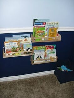 Ikea Spice Rack Bookshelf (We've since made this. It works beautifully except books are a bit easy to knock off when he's in a hurry. Were I to make these from scratch, I'd make the front rail a bit higher.)