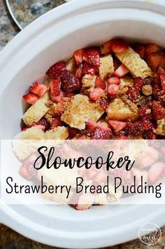 Strawberry season is a favorite in our house. We love to pick strawberries as a family and make memories. We always end up picking more than we could ever possible eat so I'm always looking for great strawberry recipes. Strawberry Bread Pudding is a favorite! It's a great alternative to strawberry shortcake, this slow cooker strawberry bread pudding recipe won't disappoint.