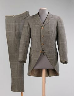 1894 wool suit by J. Morning suits were originally adopted… Victorian Mens Fashion, 1890s Fashion, Vintage Fashion, Morning Coat, Morning Suits, Couture Mode, Haute Couture Fashion, Antique Clothing, Historical Clothing