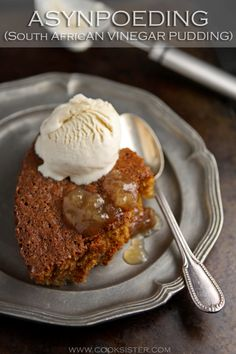 Asynpoeding or vinegar pudding is a classic South African baked sponge pudding smothered in a sauce spiked with apricot jam and a hint of vinegar. Try it and see for yourself! South African Desserts, South African Recipes, Best Vanilla Ice Cream, Self Saucing Pudding, Bread And Butter Pudding, Mixed Fruit, Vinegar, Deserts, Dessert Recipes