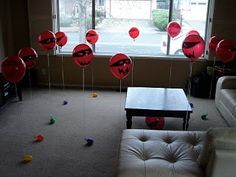Balloon Ninja - materials needed: nerf gun, helium balloons secure to floor with string (details in post) #games