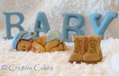 Baby Baby Baby! Cre8ive Cakes Baby Cake Topper with US Army soldier boots and fondant letters. www.cre8ivecakes.com We ship cake toppers too! Choose your skin tone/hair color/decoration! #baby #cake #Army #USArmy #cupcake #babyshower