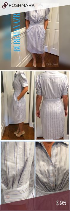 """✨SALE✨🎉HP🎉BCBGMAXAZRIA Shirt Dress 🎉🎉Host Pick🎉🎉CUTE striped dress with cute buttoned sleeves, and pleats with three buttons in bust area to waistband. The pleats also continue below waistband giving it a very nice look!! Long zipper on side for help in and out. My friend/model is 5'4...her favorite part were the pockets💕40.5"""" in length from shoulder to hem and 17.5"""" across bust. There is one small mark behind the tag and does not show through fabric to back of dress(pic 4) Bundle to…"""