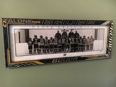 CCC Pee Wee Frames and Tray for King Hockey Stick Picture Frame. Need to do this for tylers team. Bring on playoffs Boys Hockey Bedroom, Hockey Girls, Girls Basketball, Girls Softball, Softball Hair, College Basketball, Hockey Stick Crafts, Hockey Sticks, Hockey Coach