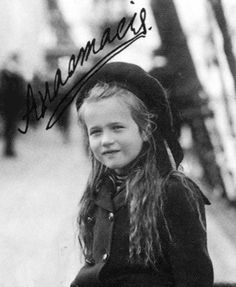Grand Duchess Anastasia, 1907.    Once, when the Grand Duchesses were swimming with their father in the Crimea, little Anastasia (then five) was sucked under water by a wave. When she did not resurface, Nicholas dove into the water and managed to grab her hair and pull her to safety. He was so upset by this near miss that he had a canvas pool constructed for the children to swim in instead.