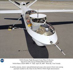A satellite antenna, electro-optical/infrared and ocean color sensors (front) were among payloads installed on the Altair for the NOAA-NASA UAV flight demonstration.
