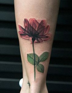 X Ray Geometric Flower Tattoo for Women - Ankle Calf Leg - MyBodiArt.com