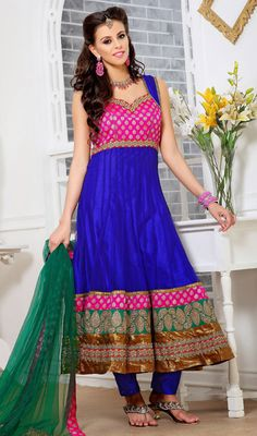 Royal Blue and Pink Net Anarkali Suit Price: Usa Dollar $172, British UK Pound £101, Euro126, Canada CA$ 184, Indian Rs9288.