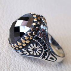 men ring black onyx agate aqeeq faceted stone sterling silver