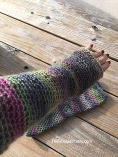 Hand Crocheted Multi-colored Texting Gloves, Fingerless Gloves, Crochet Arm Warmers, Elbow Length Texting Gloves, Multi Boho Wrist Warmers by TheHookster on Etsy