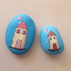 Two hand painted rocks / beach stone / gift / Stone Art / Acrylic / home decor