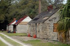 Antebellum cabins on Ossabaw Island, Georgia, constructed of tabby.  Tabby is a concrete made from lime, oyster shells, & sand.  Historically used in Florida & the SC lowcountry.  #South #Southern #history